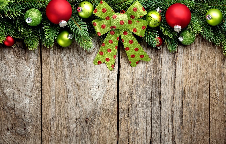 Photo wallpaper Branches, Balls, New year, bow, Bumps, Holidays