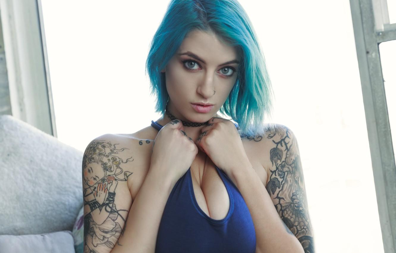 Photo wallpaper girl, model, blue hair, Pulp, tatoo, suicide girls, Pillow Talk