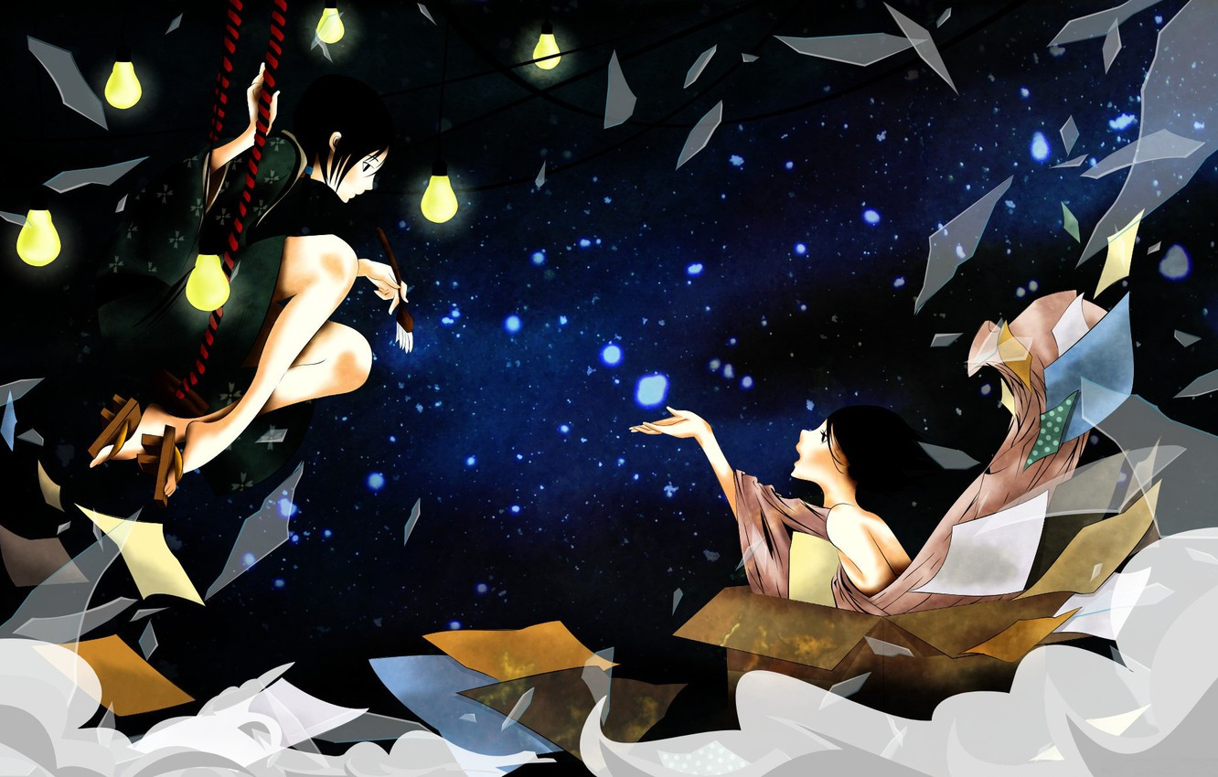 Photo wallpaper night, fragments, swing, box, sleep, sheets, brush, light bulb, Japanese clothing, art, starry sky, two …