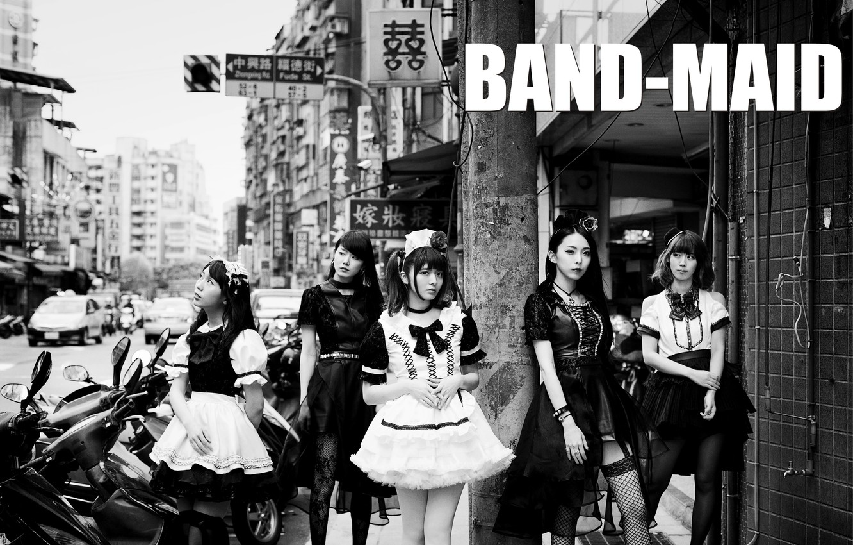 Photo wallpaper city, black & white, street, Misa, j-rock, Kanami Tōno, Miku Kobato, band-maid, Akane Hirose, all-girls, …