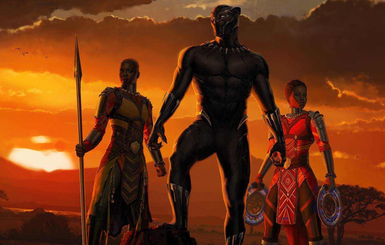 Photo wallpaper sunset, girls, Africa, girls, Marvel, movie, 2018, Africa, EXCLUSIVE, Black Panther, T`Challa, MCU, Wakanda, Black ...