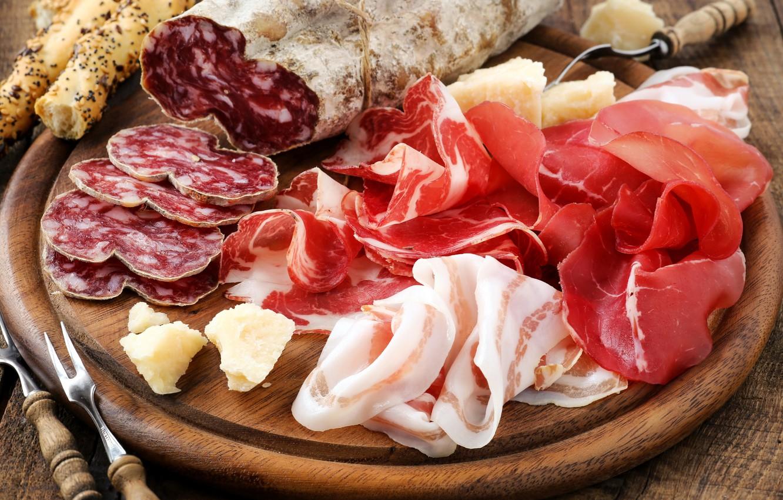 Photo wallpaper meat, sausage, cutting, ham, fat