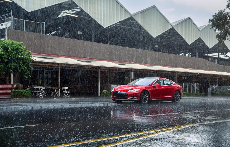 Photo wallpaper Red, Rain, Car, Model, Tesla, Motors, P85, 2012-14