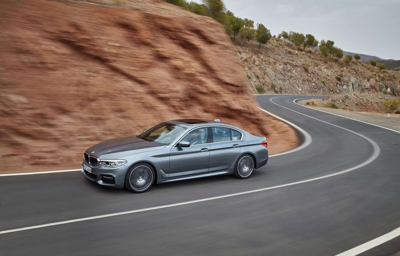 Photo wallpaper road, asphalt, grey, markup, turn, BMW, sedan, 540i, 5, M Sport, four-door, 2017, 5-series, G30