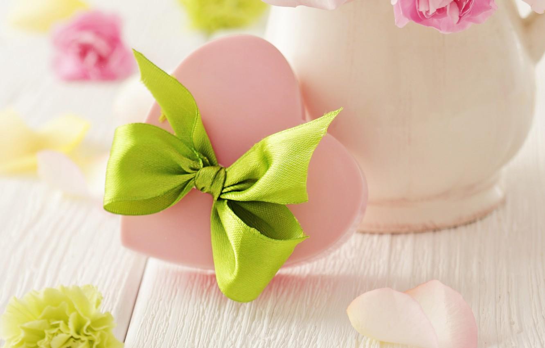 Photo wallpaper Holiday, bow, heart, Soap, Valentine's day
