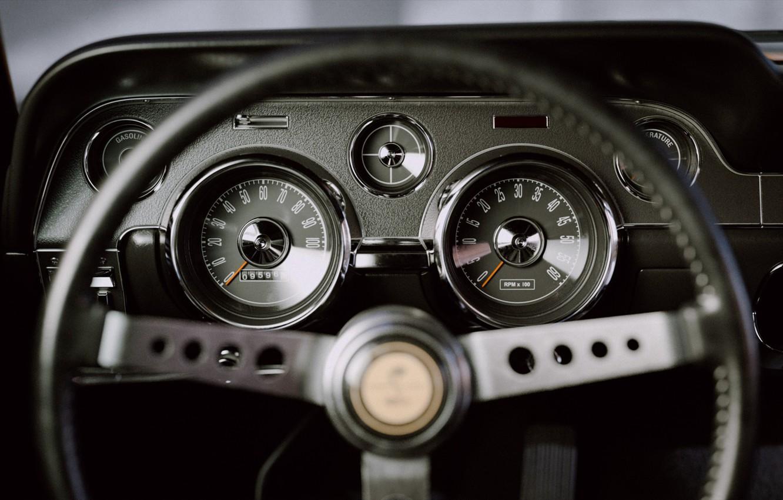 Photo wallpaper Mustang, Ford, Auto, Retro, Machine, Panel, Salon, Speedometer, Ford, Art, The wheel, Fastback, 1968, Ford …