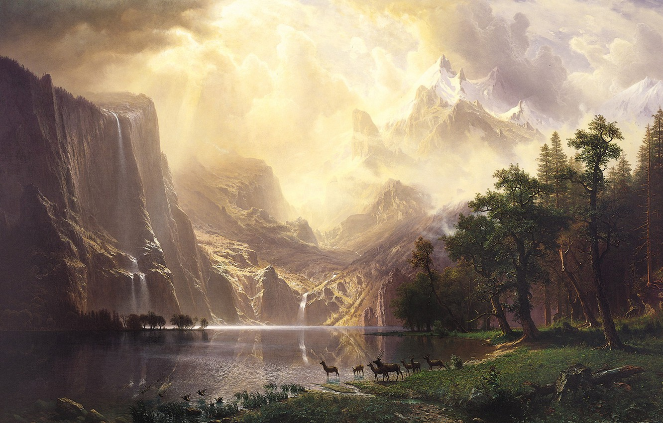 Photo wallpaper landscape, nature, art, Albert Bierstadt, Albert Bierstadt, Among the Sierra Nevada Mountains-California