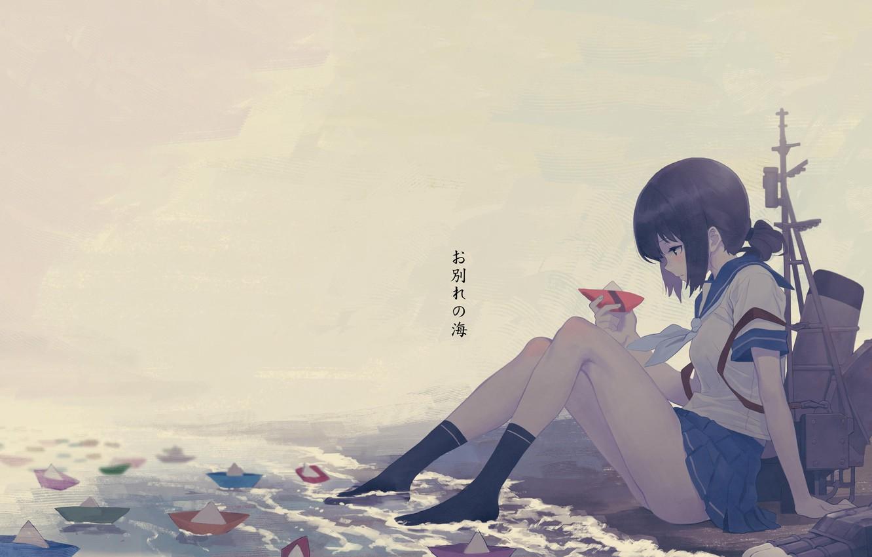 Photo wallpaper girl, school uniform, legs, anime, water, mood, artwork, feeling, socks, thinking, Kantai Collection, anime girl, …