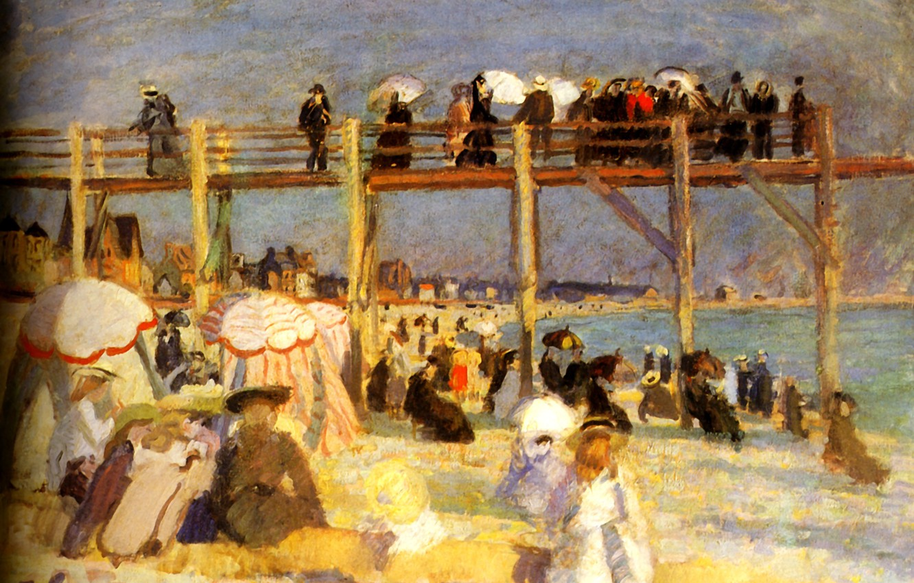 Photo wallpaper Paris, 1904, Huile sur Toile, The Beach of Sainte-Adresse, MusВe national d'art moderne, The Beach …