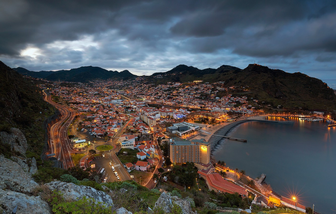 Photo wallpaper mountains, coast, panorama, Bay, Portugal, night city, Madeira, Portugal, The Atlantic ocean, Atlantic Ocean, Madeira, …