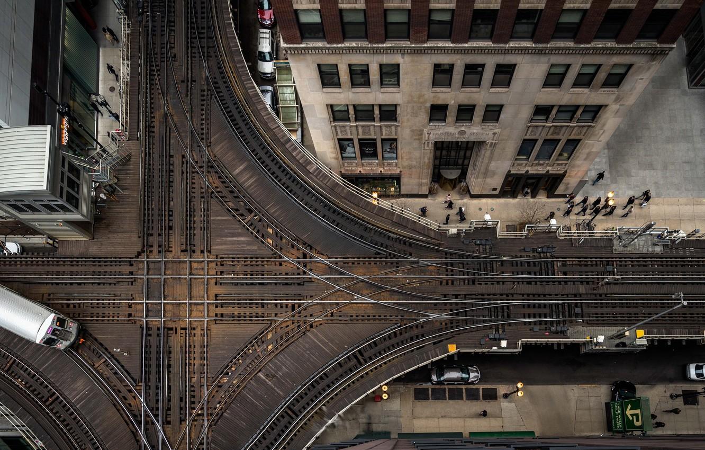 Photo wallpaper the city, railroad, Chicago