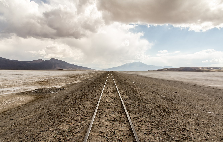 Photo wallpaper perspective, railroad, rovnina