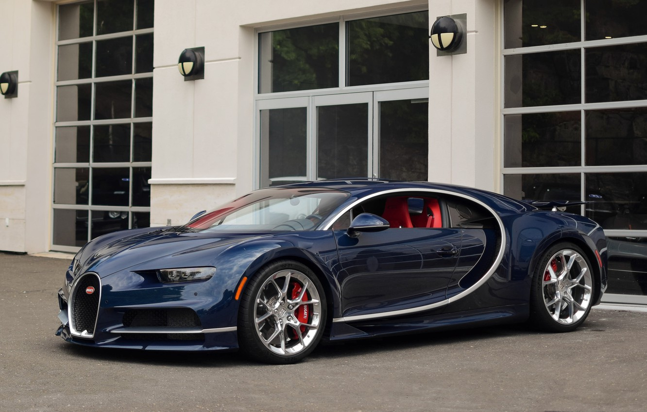 Photo wallpaper dark, bugatti, blue, chiron
