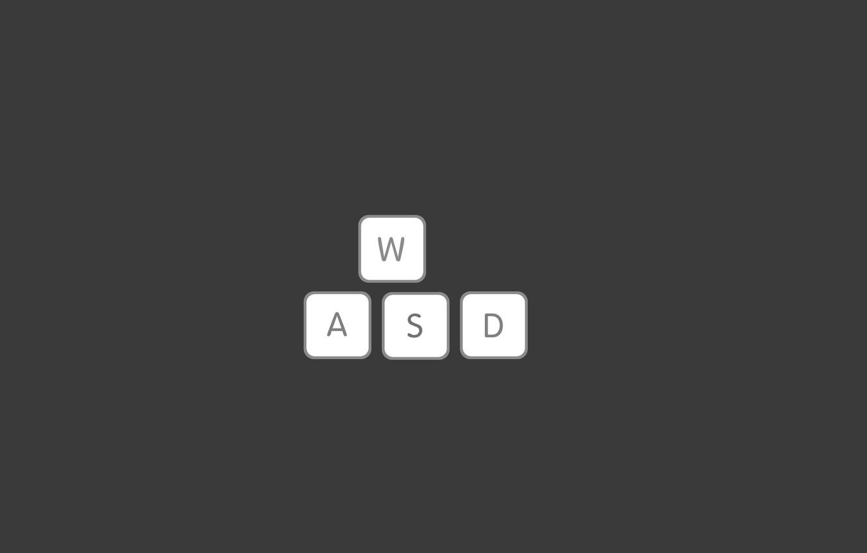 Photo wallpaper letters, keys, keyboard, wasd, play button