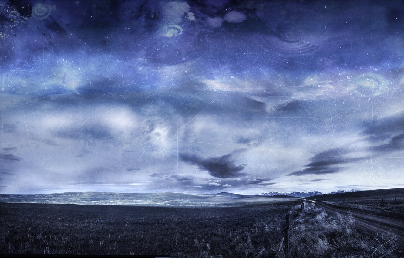 Photo wallpaper road, the sky, clouds, mountains, ears, Arbor Lux, Digital Alchemy Landscapes