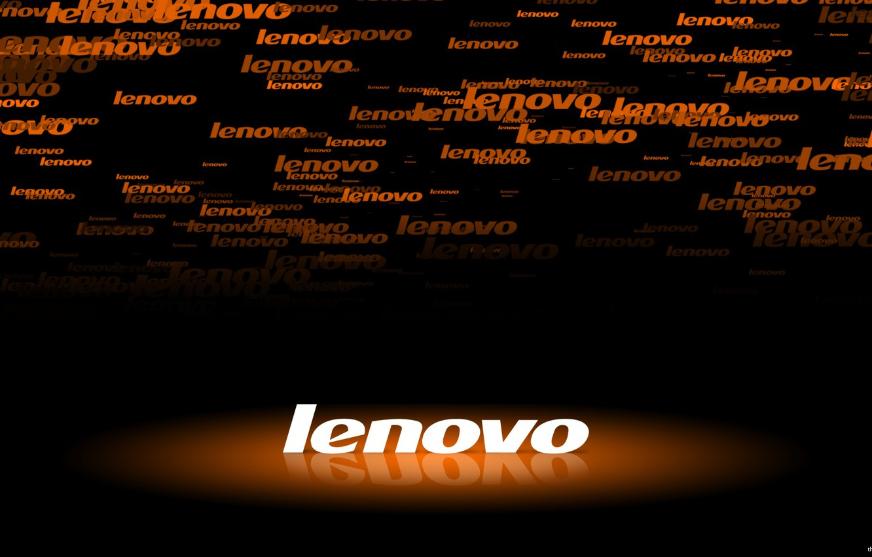 Photo wallpaper backlight, logo, black, orange, Lenovo