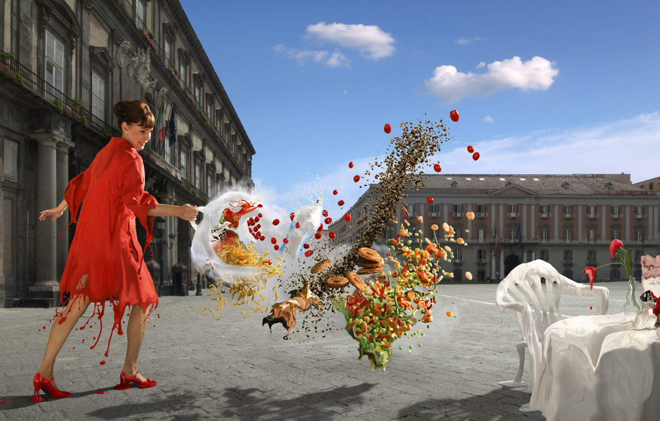 Photo wallpaper girl, Digital Art Collection, Thomas Herbrich, threw food, Thomas Herb Rich
