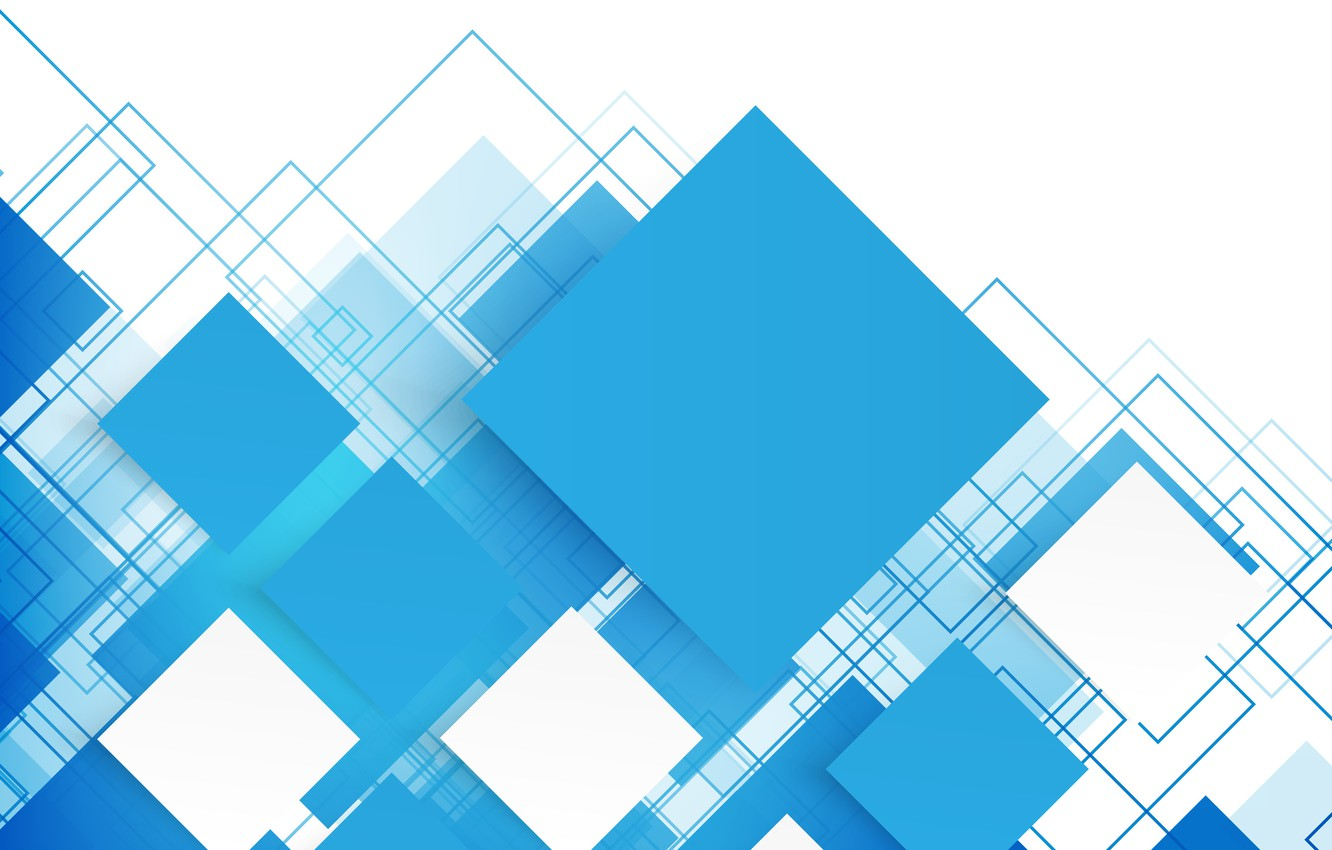Photo wallpaper abstraction, vector, abstract, geometry, blue, background, squares