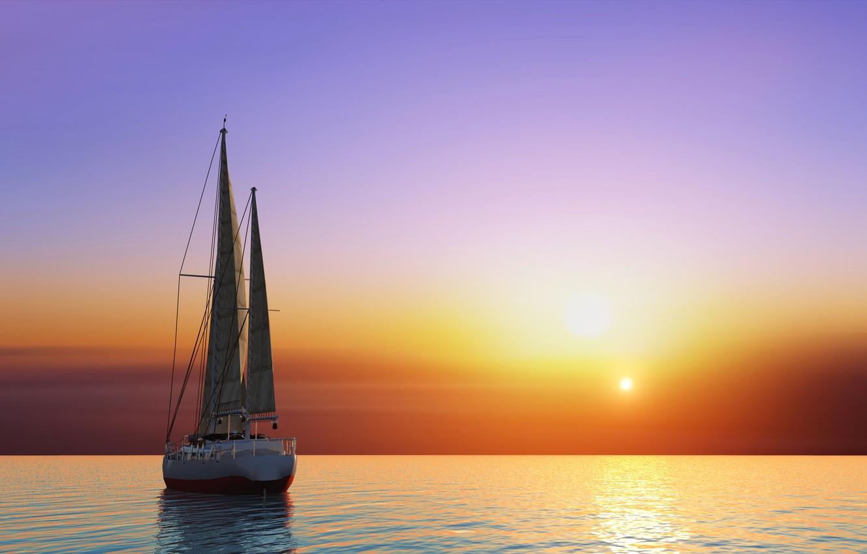 Photo wallpaper sea, the sky, the sun, sunset, graphics, yacht, horizon, glow, sails