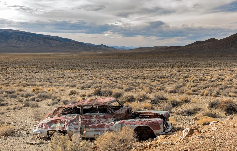 Photo wallpaper machine, landscape, nature, valley, scrap