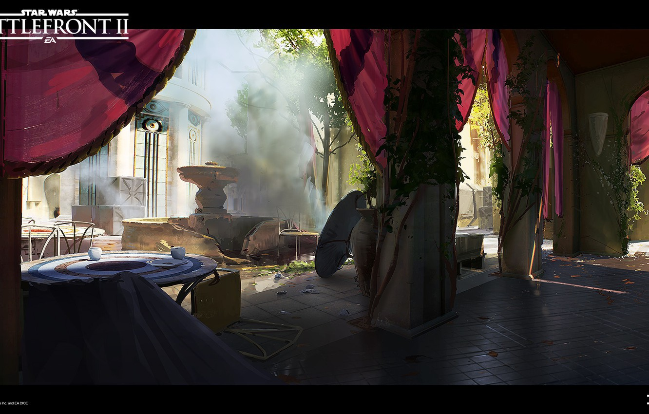 Wallpaper Columns Fountain The Room Star Wars Battlefront Ii Theed City Images For Desktop Section Igry Download