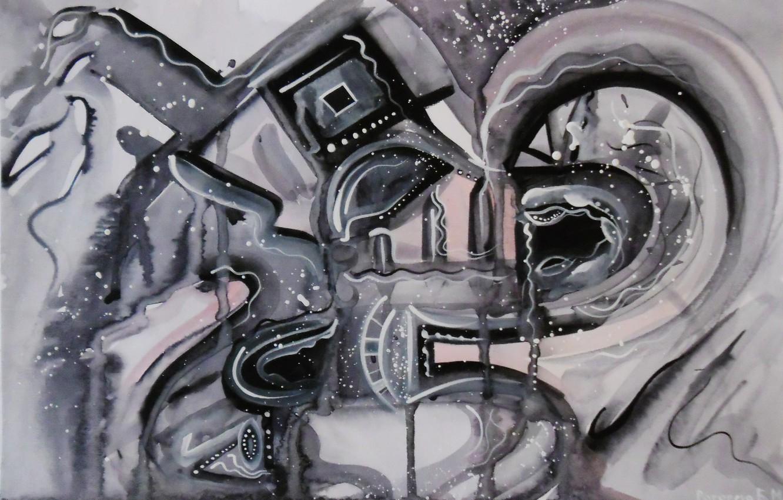 Photo wallpaper winter, snow, night, black and white, Figure, ladder, Lena Horn