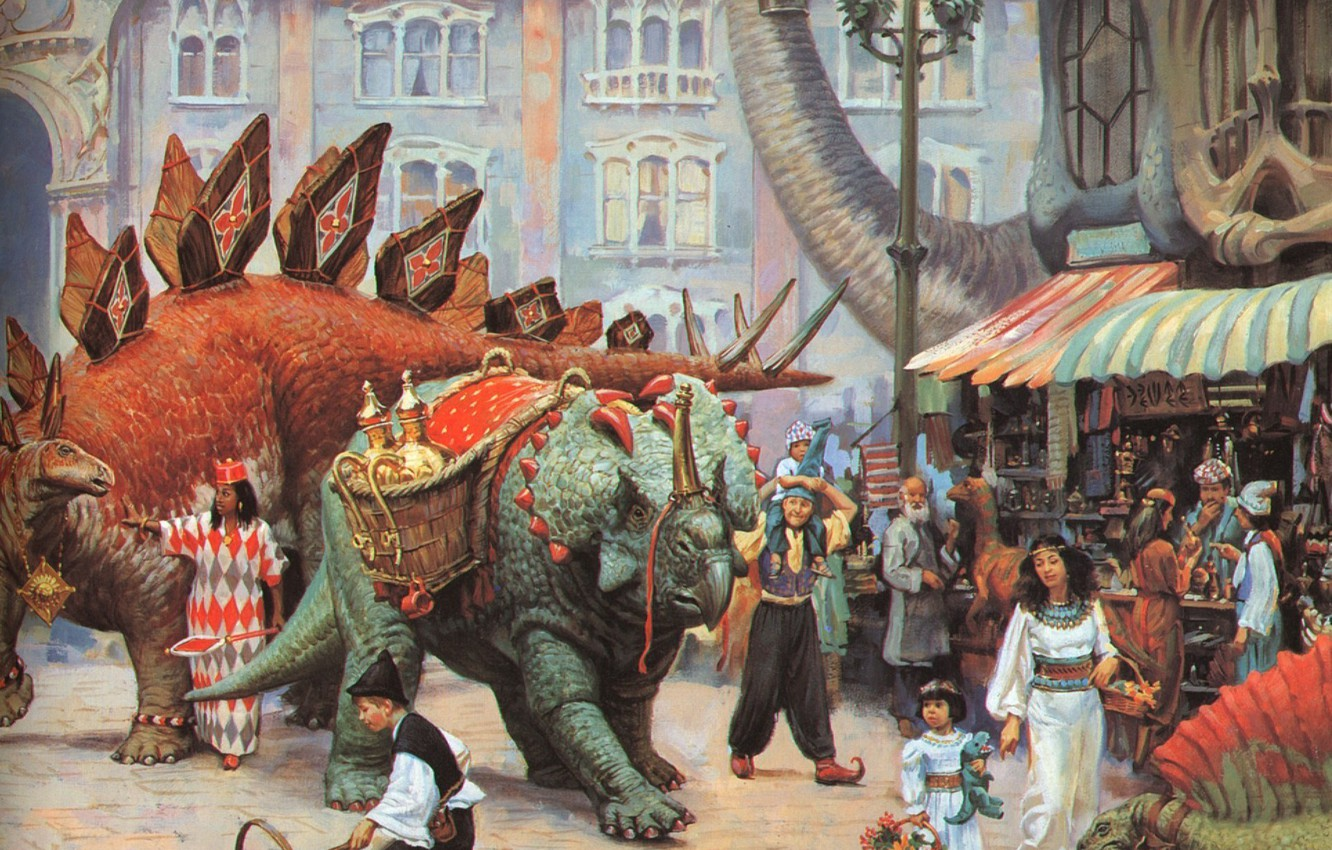 Photo wallpaper dinosaurs, Bazaar, fantastic painting of the XX century, JAMES GURNEY