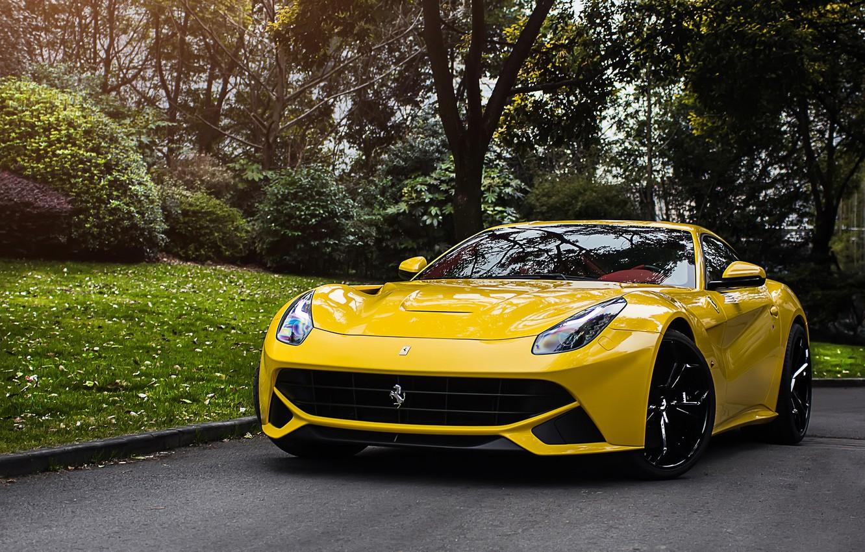 Photo wallpaper Ferrari, Yellow, berlinetta, F12, The Ferrari F12 Berlinetta