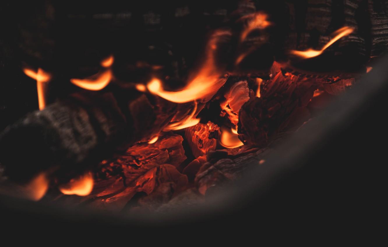 Photo wallpaper fire, flame, the fire, coal