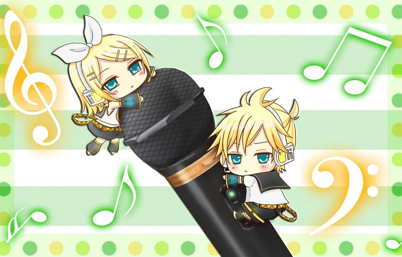 Photo wallpaper children, notes, kids, two, Vocaloid, Vocaloid, Kagamine Len, Kagamine Rin