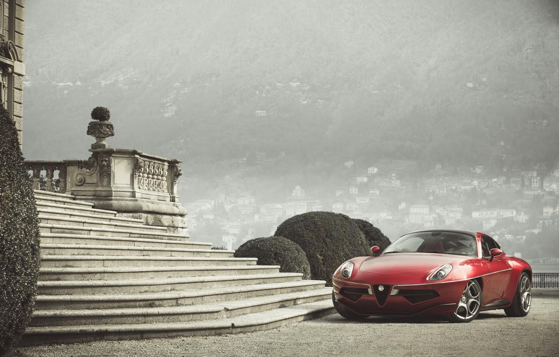 Photo wallpaper Red, Alfa Romeo, Car, 2013, Metallic, Disco Volante Touring