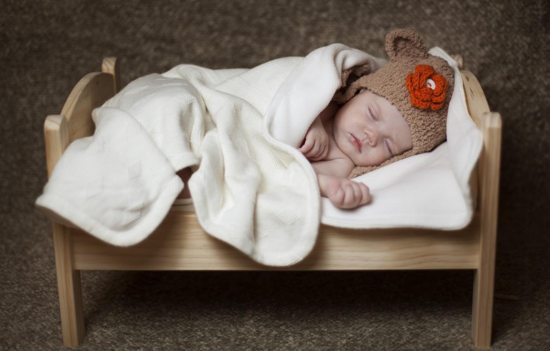 Photo wallpaper sleep, baby, blanket, child, cap, baby, cot