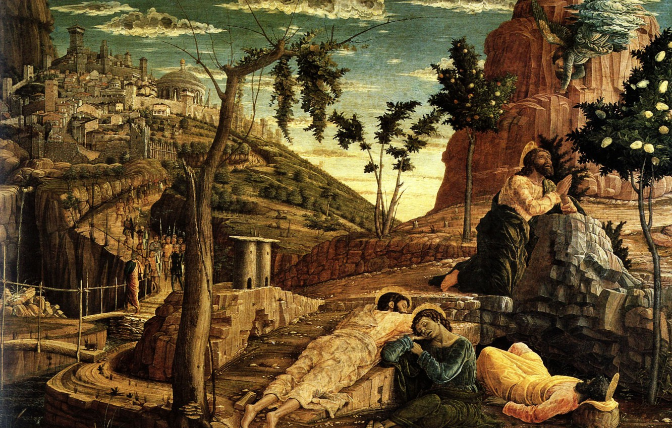 Photo wallpaper Towers, Andrea Mantegna, Wood transposed on Canvas, 1459, museum of Fine Arts, The Prayer in …