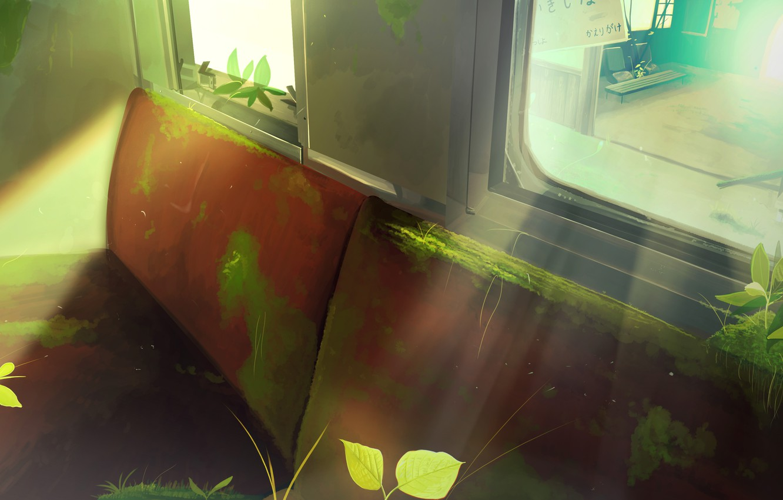 Photo wallpaper moss, plants, bus, abandoned
