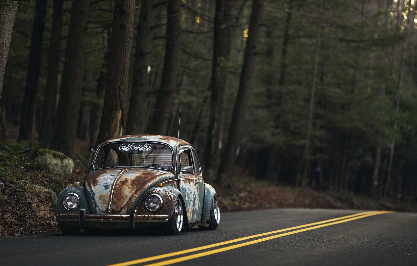 Photo wallpaper Volkswagen, Old, Beetle, Road, Forest, Rusty
