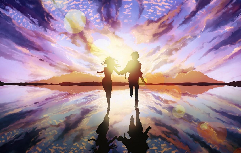 Wallpaper Girl The Sun Love Art Pair Love Guy The Ripples