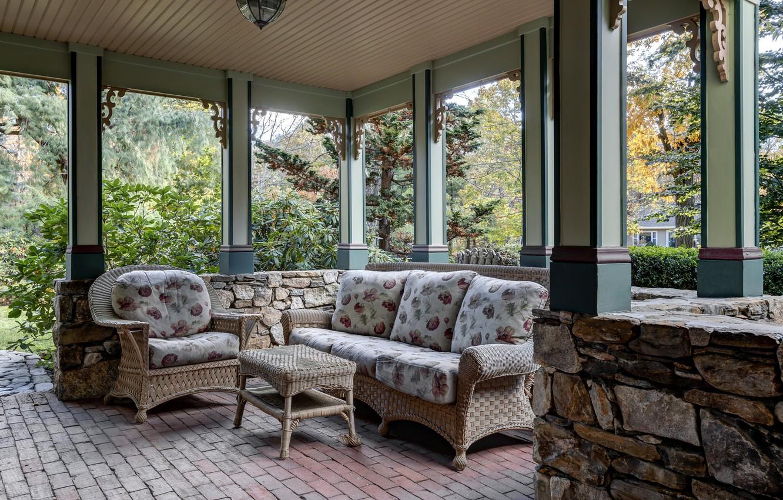 Photo wallpaper Windows, chairs, veranda