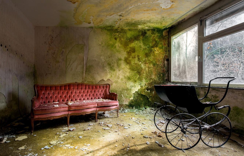 Photo wallpaper room, sofa, window, stroller