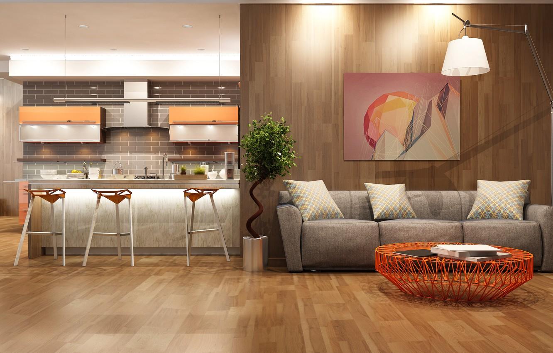 Wallpaper room, sofa, lamp, picture, modern, living room ...