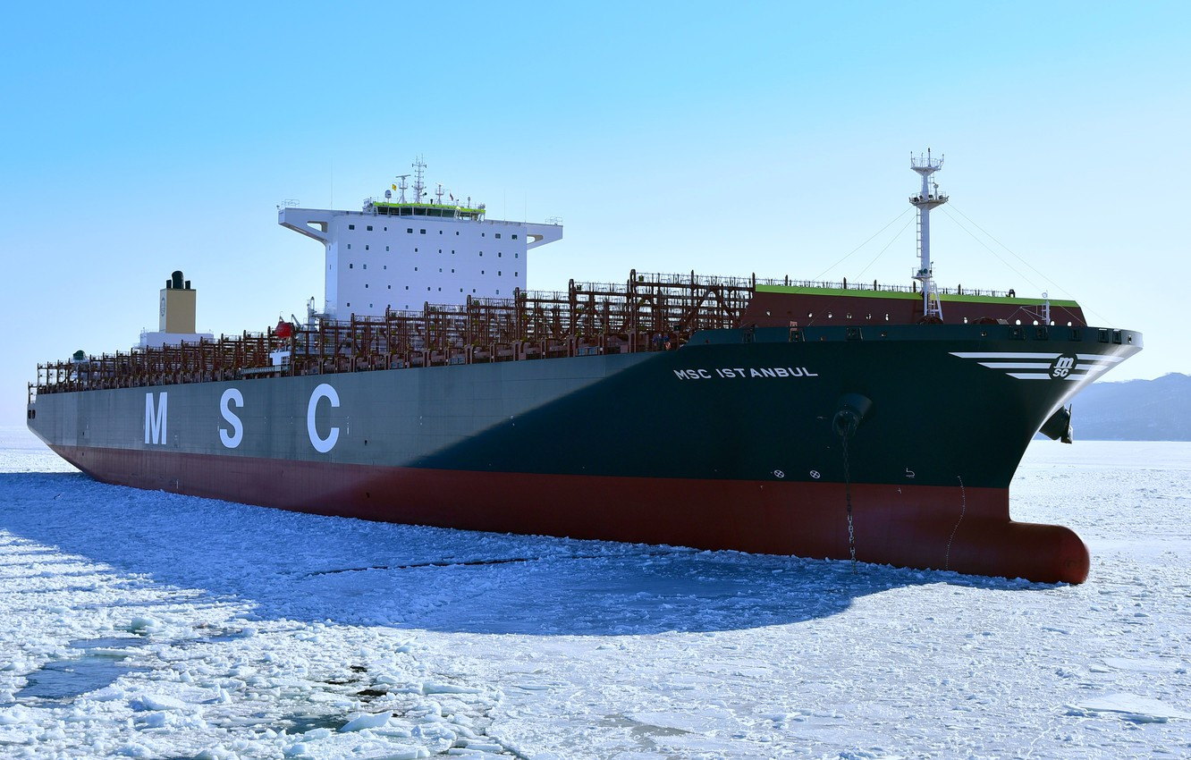 Photo wallpaper ice, winter, a container ship