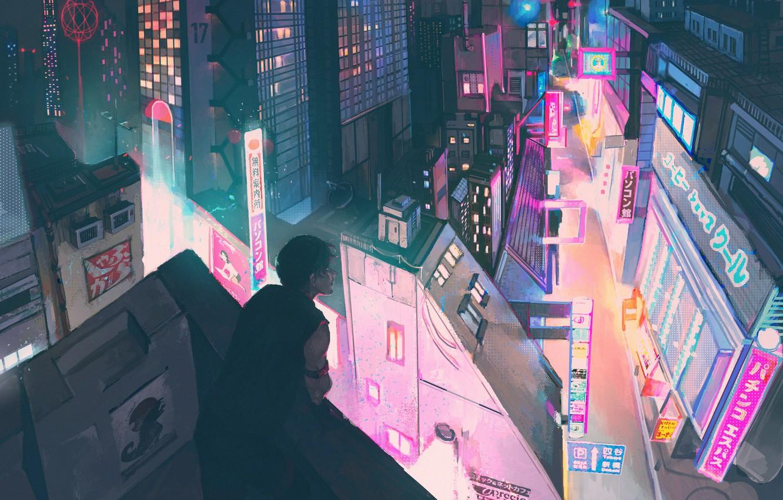 Photo wallpaper night, the city, guy, neon waveski, by LuviiiLove