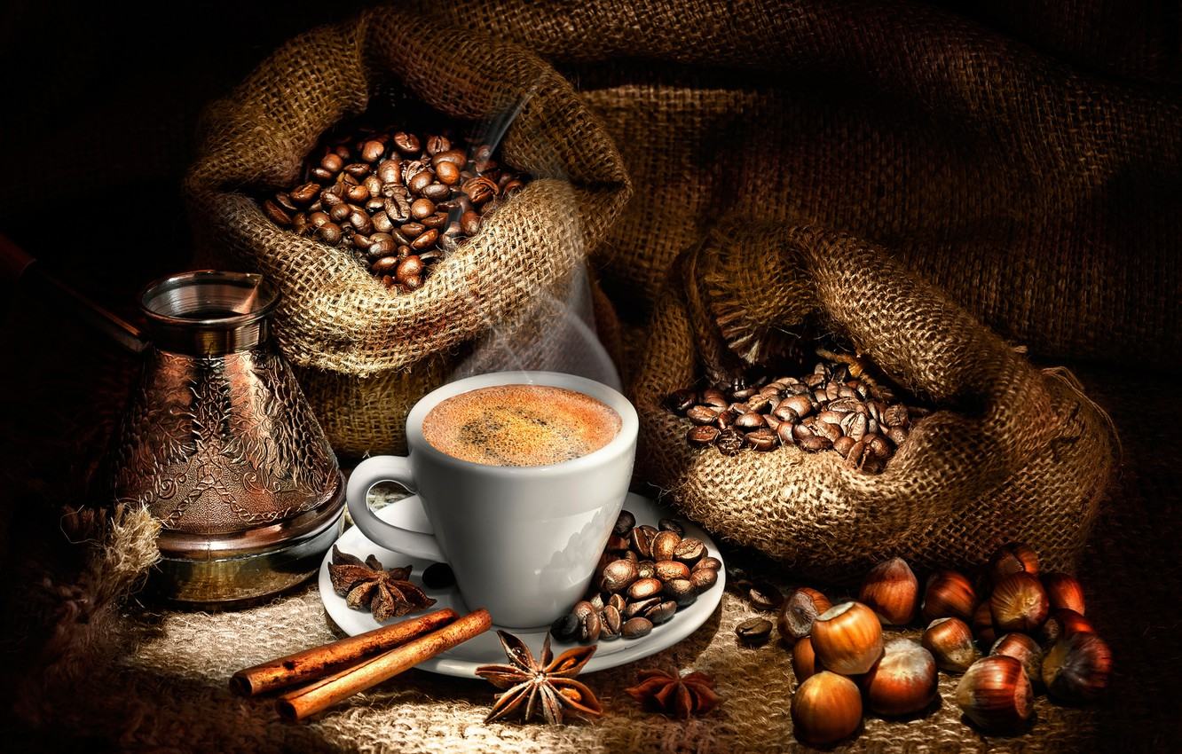 Photo wallpaper coffee, hot, couples, Cup, drink, twilight, nuts, cinnamon, bags, saucer, grain, hazelnuts, star anise, coffee …