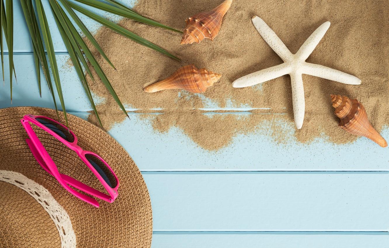 Photo wallpaper sand, beach, summer, stay, star, vacation, hat, glasses, shell, summer, happy, beach, sand, vacation, starfish, …