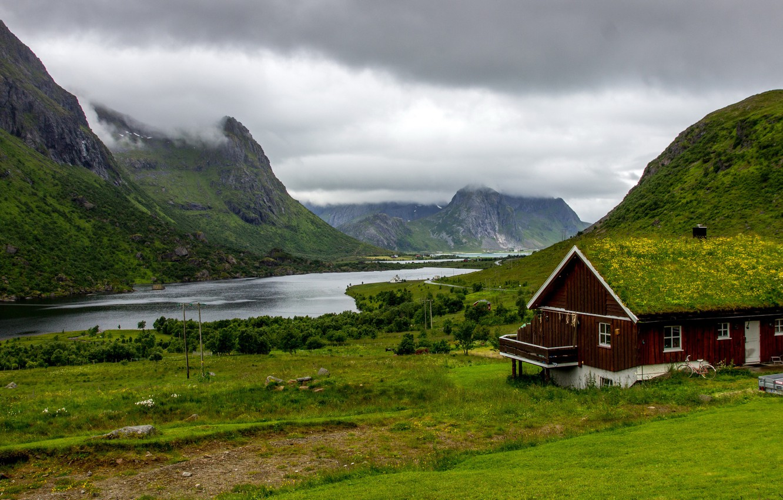 Photo wallpaper greens, grass, clouds, trees, mountains, clouds, house, overcast, rocks, Norway, Bay, The Lofoten Islands, Lofoten