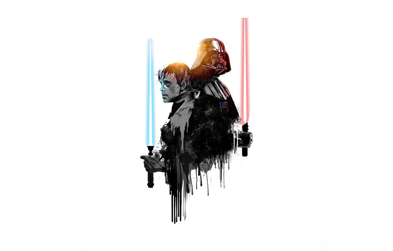 Photo wallpaper Star Wars, Darth Vader, heroes, Star wars, Luke Skywalker, laser swords