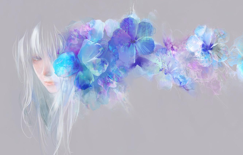 Photo wallpaper girl, flowers, blue