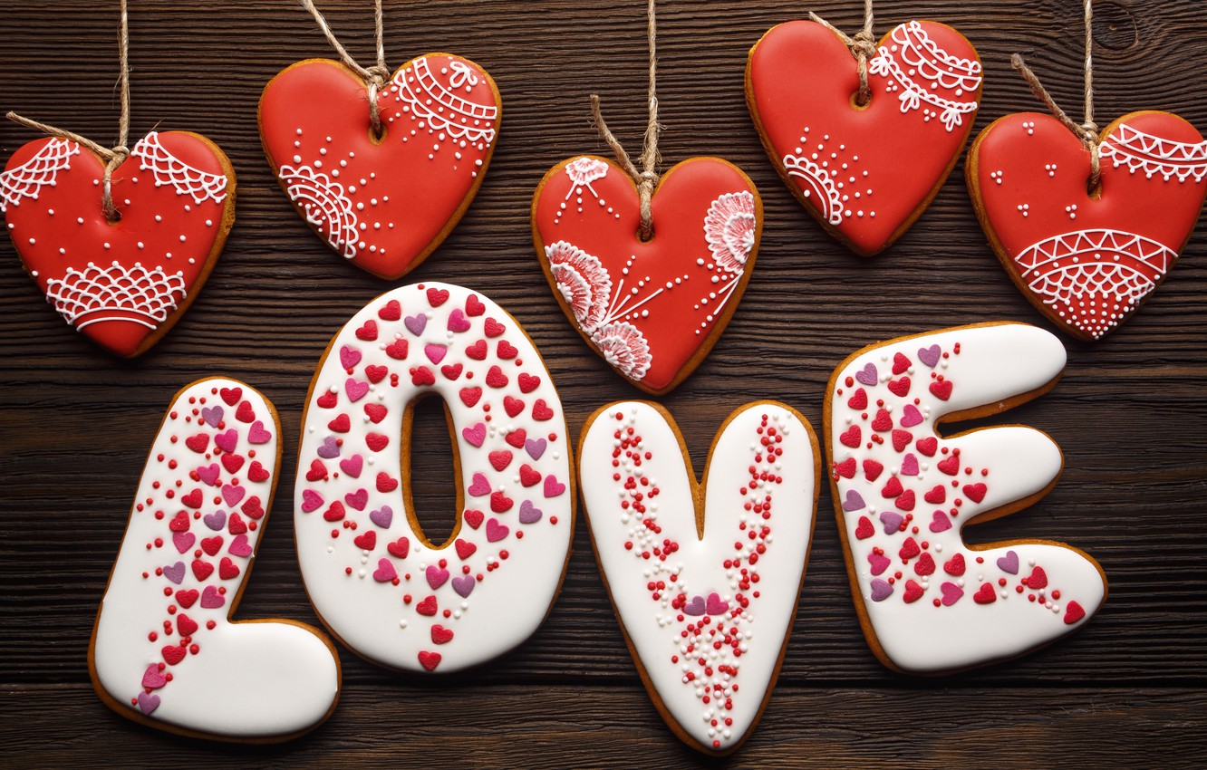 Photo wallpaper love, romance, hearts, red, love, wood, romantic, hearts, Valentine's Day, gift, cookies