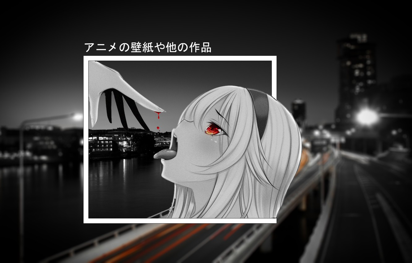 Photo wallpaper girl, the city, anime, anime, black white, madskillz, madskillz