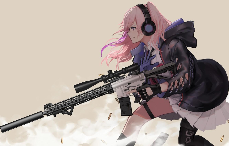 Photo wallpaper gun, game, pink hair, weapon, anime, pretty, sniper, asian, rifle, japanese, gloves, oriental, asiatic, assault …