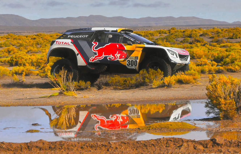 Photo wallpaper Reflection, Sport, Speed, Race, Puddle, Peugeot, Lights, Red Bull, 300, Rally, Dakar, Dakar, Rally, Sport, …